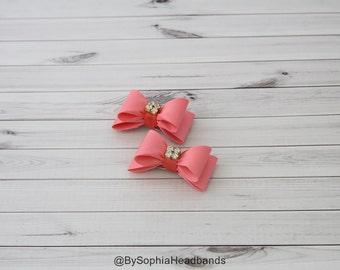 Coral Baby Bow Hair Clip, Bow Hair Clip, Coral Hair Clip, Rhinestone Hair Clip, Orange Hair Clip, Baby Hair Clip, 649