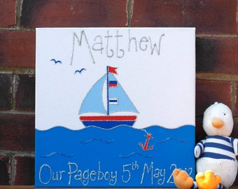 Boat Personalised Children's Canvas Picture Personalised Kid's Gift