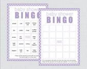 Purple Baby Shower Bingo ...