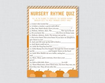 Pumpkin Baby Shower Nursery Rhyme Quiz Baby Shower Game Printable - Instant Download - Fall Baby Shower Games - Little Pumpkin 0035-O