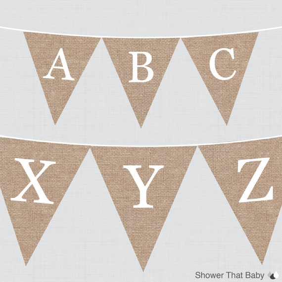 burlap alphabet banner with all letters printable instant With burlap banner letters