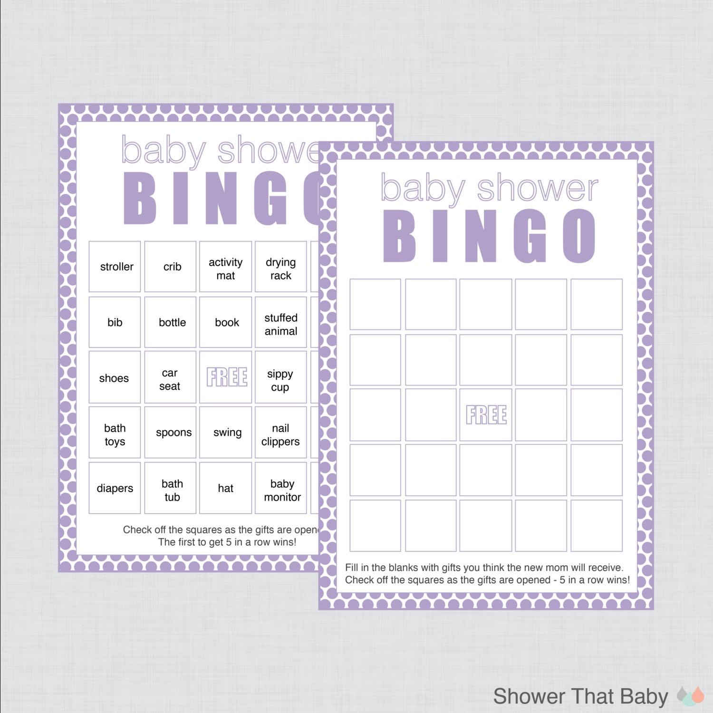 Purple Baby Shower Bingo Cards Blank Bingo Cards AND