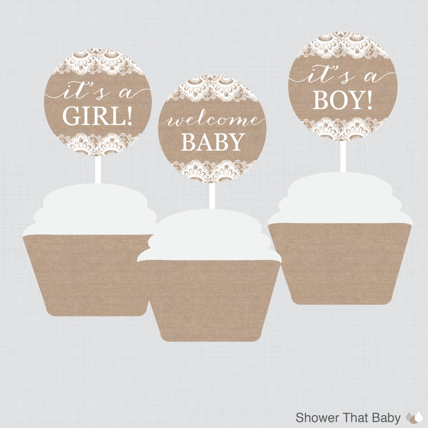 Burlap and Lace Baby Shower Cupcake Toppers and Cupcake