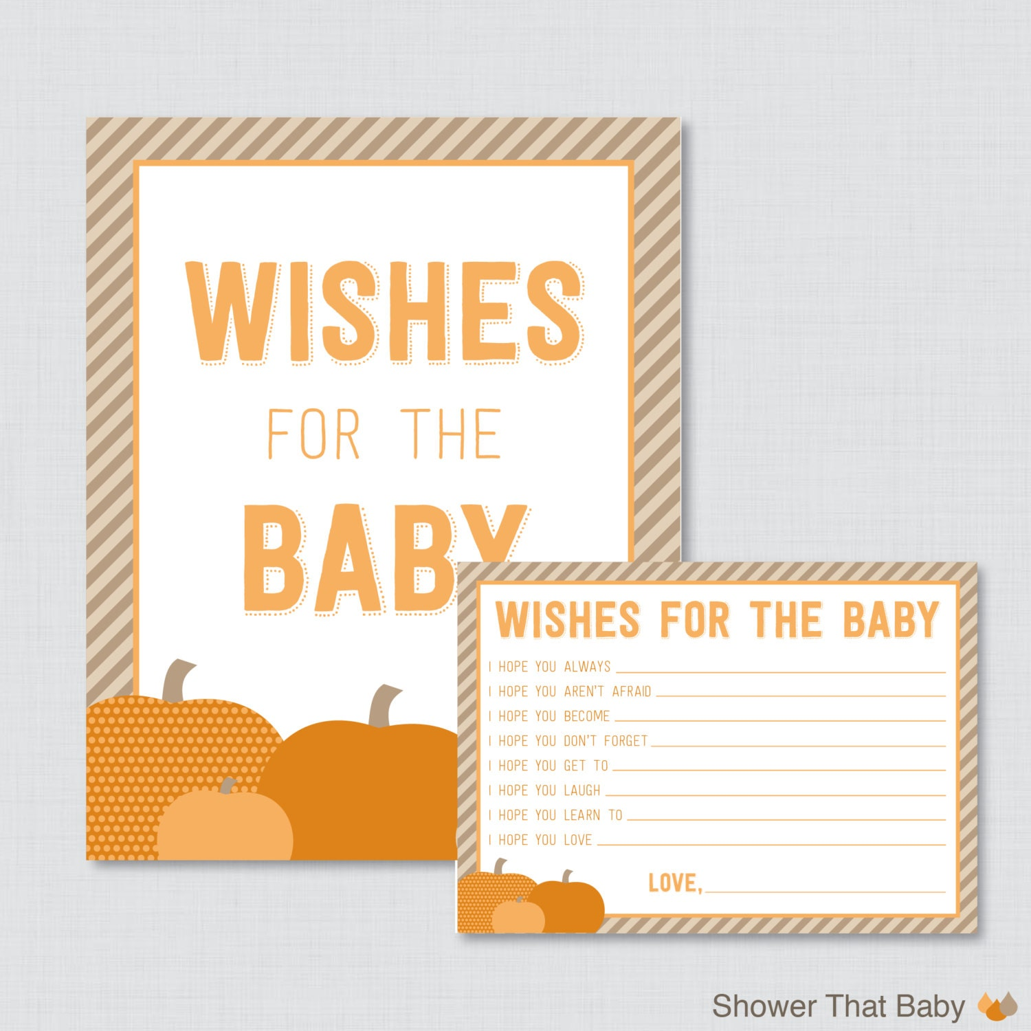 Pumpkin Baby Shower Wishes for Baby Activity Printable Pumpkin