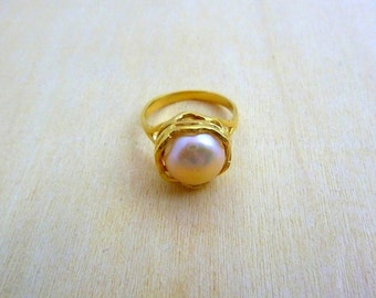Pearl Ring - GOLD Filled ring  gift for her birthstone ring gemstone ring
