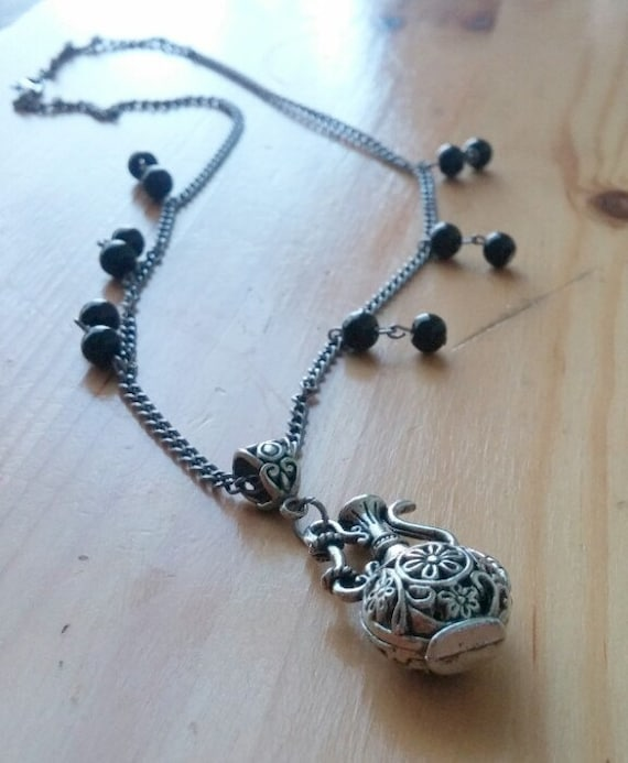 Genie Bottle Necklace: Genie Bottle Pendant Necklace With Bead Accents By