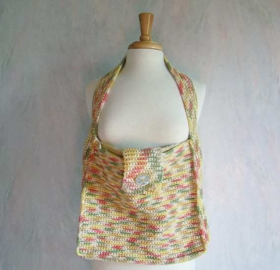 Cotton Tote Bag, Crochet Harvest Colors, Medium Size Purse, Tote Bags ...