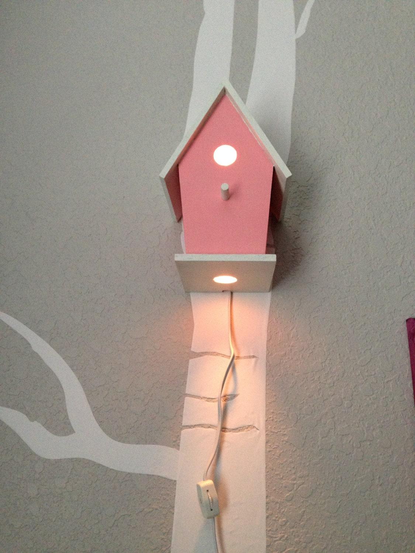 Bird House Night Light Pink Baby Girl Nursery Woodland