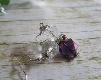 Purple Iridescent Earrings, Purple Earrings, Sale Earrings, Bridal Earrings, Deep Purple Earrings, Birthday Gifts Women, Earrings, Gifts