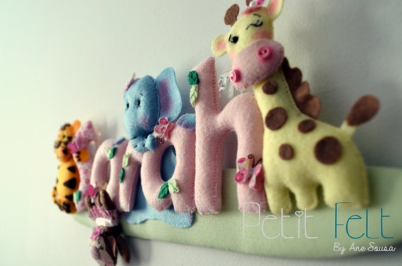 Items similar to wall decoration felt door name baby 39 s for Baby hospital door decoration