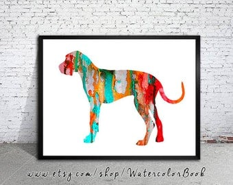 red great dane watercolor print childrens wall art home decor dog watercolor - Dane Decor
