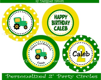 Tractor Time Digital Cucpake Toppers - DIY Printable Birthday Party Decorations party circles