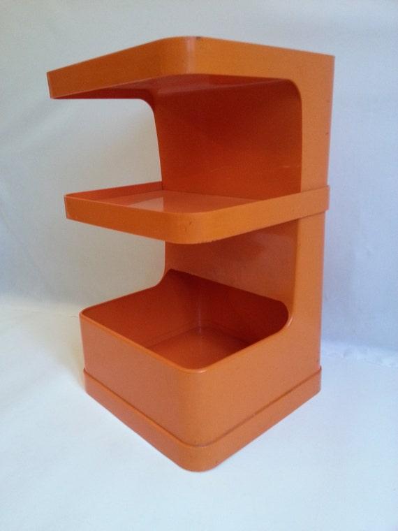 desserte plastique orange vintage. Black Bedroom Furniture Sets. Home Design Ideas