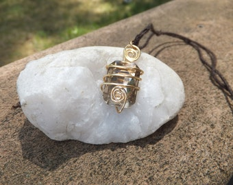 Gold Wire Wrapped Pendant