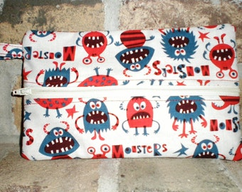 Blue, Red and White Back to School Zipper Monster Pencil Pouch