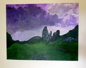 Ireland painting, celtic art, Ireland landscape, Irish moor, celtic wall art, Scotland, Scottish highlands, gift ideas, sunset painting