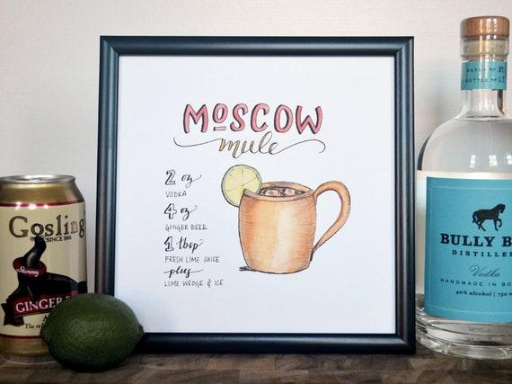 moscow mule cocktail recipe print of original handlettered. Black Bedroom Furniture Sets. Home Design Ideas