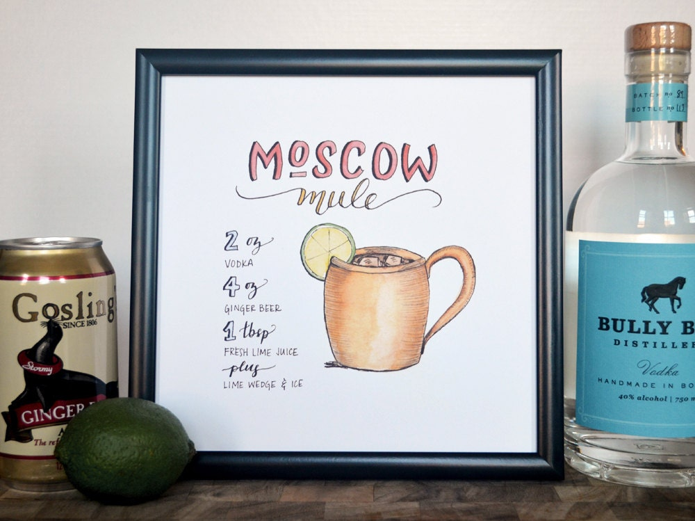 moscow mule cocktail recipe print of original handlettered. Black Bedroom Furniture Sets. Home Design Ideas