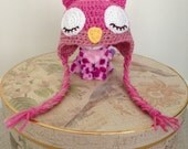 Ready To Ship, Sleepy Owl Hat, Baby Shower Gift, Handmade Owl Hat, Crochet Baby Hat, Knit Baby Girl Cap, Animal Woolly Cap
