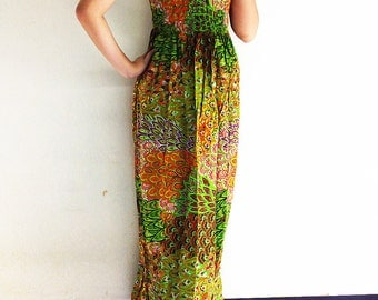 Women Maxi Dress Gypsy Dress Boho Dress Hippie Dress Summer Beach Dress Long Dress Party Dress Clothing Printed Green Orange (DL19)