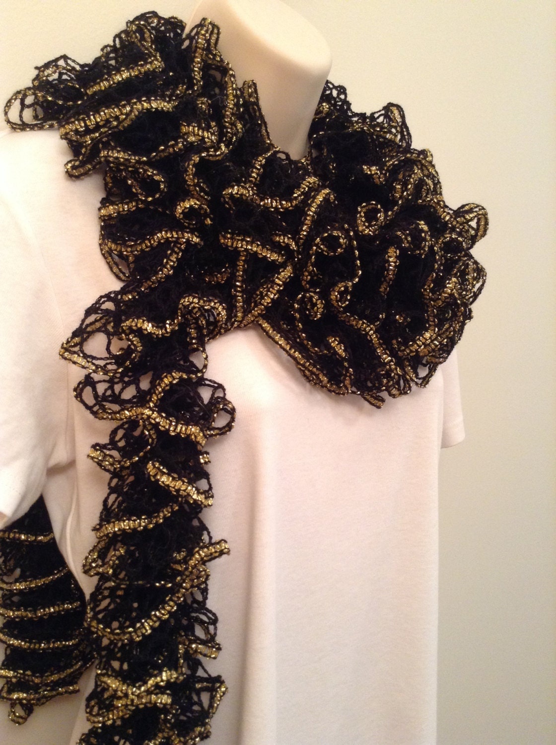 sale black and gold ruffle scarf