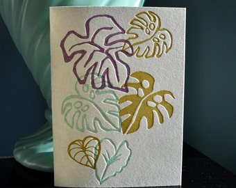 Letterpress notecards tropical philodendron printed in cool green, lavender and blue. All cotton Lettra, light green envelopes. Set of six!