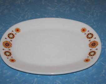 English 1970s Oval Platter - Orange and Brown Geometric