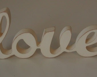 Hand-painted shabby chic wooden LOVE sign