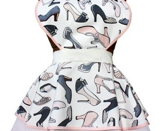 ON SALE! Retro Shoes and Pink Stripes Full Sweetheart Apron for Women