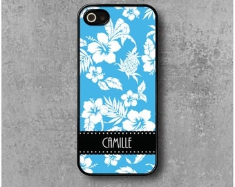 IPhone 5 / 5s / SE Case Blue Hawaii Personalized with Name (Camille, Julie, Marine ...)