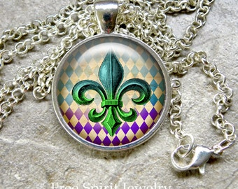 Fleur de Lis  necklace Glass dome pendant set in bronze or silver matching chain New Orleans design symbol gifts for women