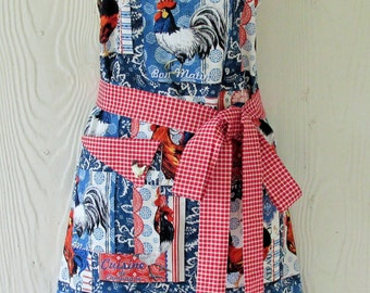 French Country Apron, Red Gingham, Chicken and Rooster Motif, Retro Style Apron, KitschNStyle