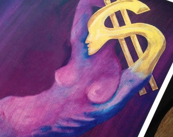 Painting of Consumer Greed in brilliant Purple and Gold, Print.
