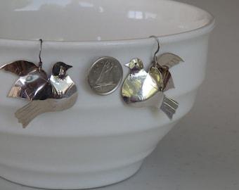 Peace Dove Earrings, sterling silver dangle bird earrings, shiny earings