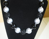Sparkly Black and Silver Chunky Bubblegum Necklace for Women, Perfect for Oakland Raiders Fans!