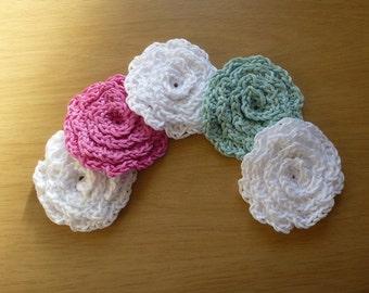 Hand made crochet cotton flower design facial scrubbies. Set of five.