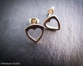 Handcrafted 9ct rose gold 'Shield of Hearts' stud earrings