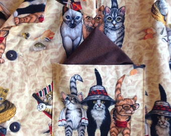 Men's Hawaiian Button-Down Cool Cat Print Shirt