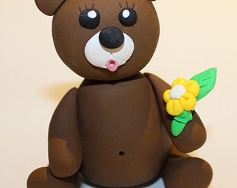 Polymer Clay Bear and Flower Figurine, good for Decoration, Personalised Gift, Cake Topping, Cake Decoration, Cake Topper