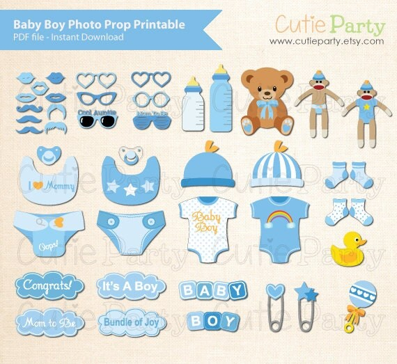 Boy Baby Shower Photo Booth Prop Baby Shower Photo by Cutieparty