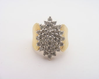 2.00 Carat Total Weight Diamond Cluster Ring. 10K Yellow Gold