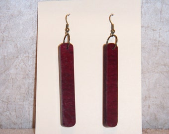 Purple Heart Earrings - Handmade Dangle Earrings from Purple Heart Wood