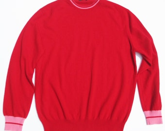 Vintage Luciano Barbera Red Cashmere Crewneck with Pink Tipping Italy