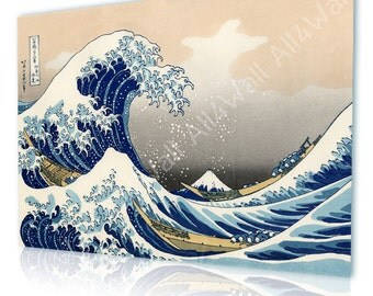 "Canvas Repro ""The Great Wave off Kanagawa"" By Katsushika Hokusai Giclee wall art poster photo Art print photos reproduction fine art decor"