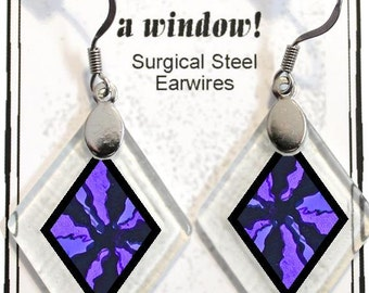 "Earrings ""Serendipity in Purple"" from rescued, repurposed window glass~Lightening landfills one tiny glass diamond at a time!"