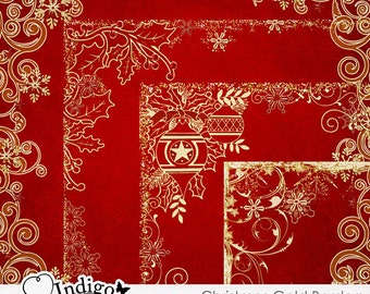 Seasons Greetings Gold Borders - Digital Scrapbook Border Overlays - Personal and Commercial Use, D054 - Instant Download