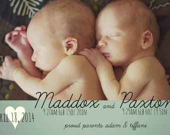 twin birth announcement- back of card design included!