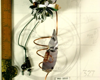 Metal Flower Ornament Hand Made OOAK with Recycled Materials and Lots of Joy PRO-10112