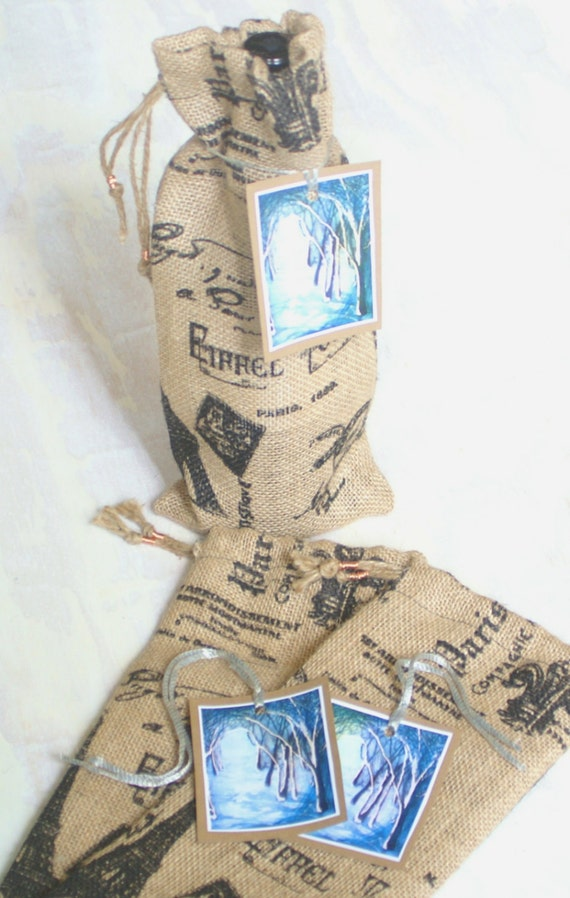 decorative burlap wine gift bag with cathedral of trees gift