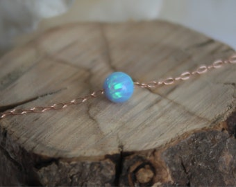 Rose gold Opal necklace, opal ball necklace, opal rose gold necklace, opal jewelry, tiny dot necklace, opal bead necklace, dot necklace
